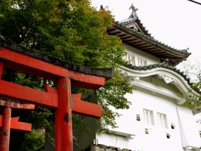 Izushi castle and red Torii