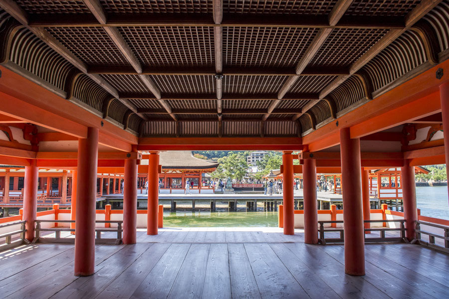 Itsukushima Shrine's elegant architecture and pillars