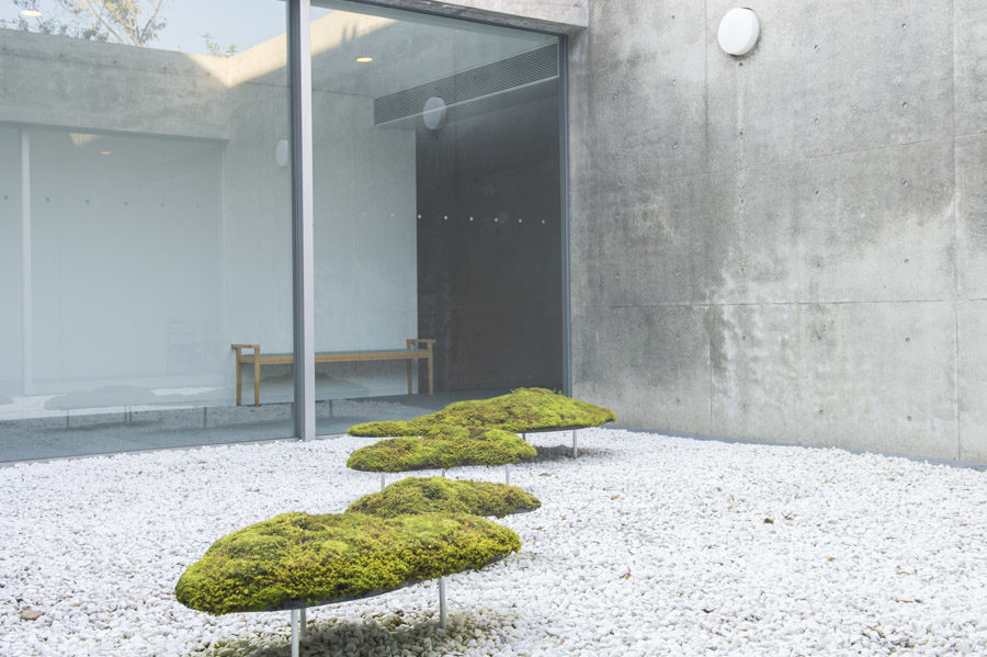 Yutaka Ono's floating islands of green moss.