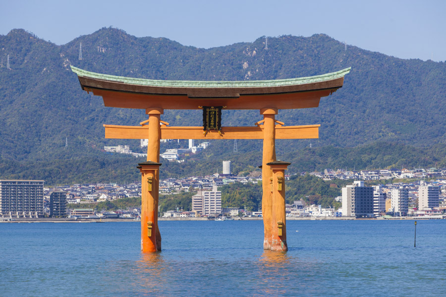 The iconic gate in the water off Itsukushima Shrine