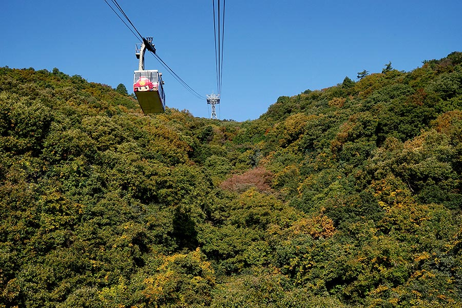 The short cable car ride provides perfect views of the surrounding abundant nature.