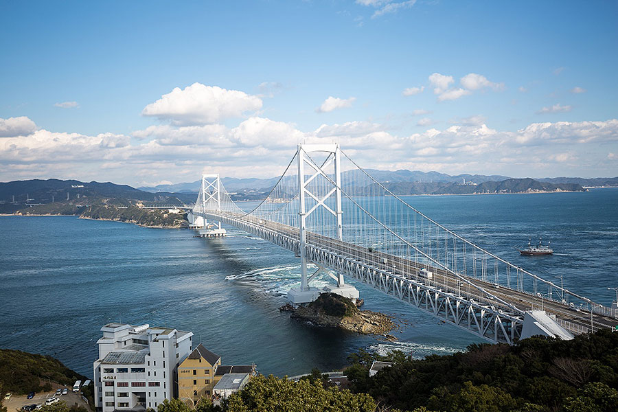 Onaruto Bridge connects Awaji Island with the township of Naruto, Tokushima.