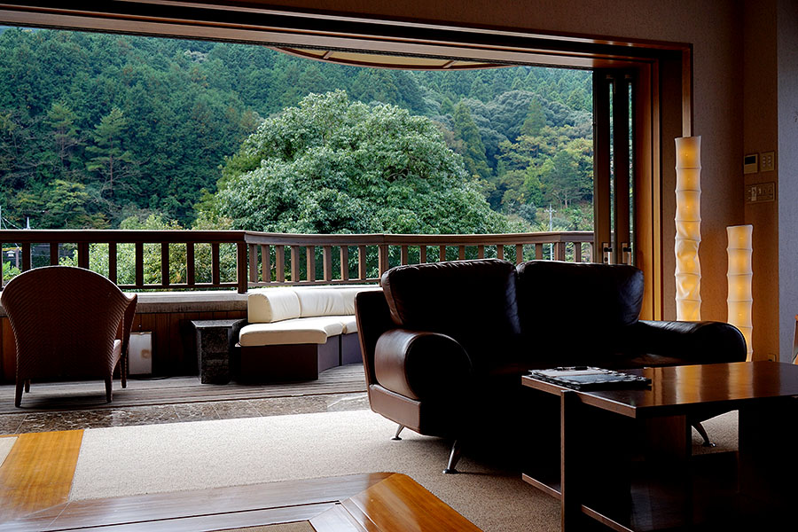 Next to a river and surrounded by lush green landscape, taking in the view is one of the treats of staying at Otuzure.