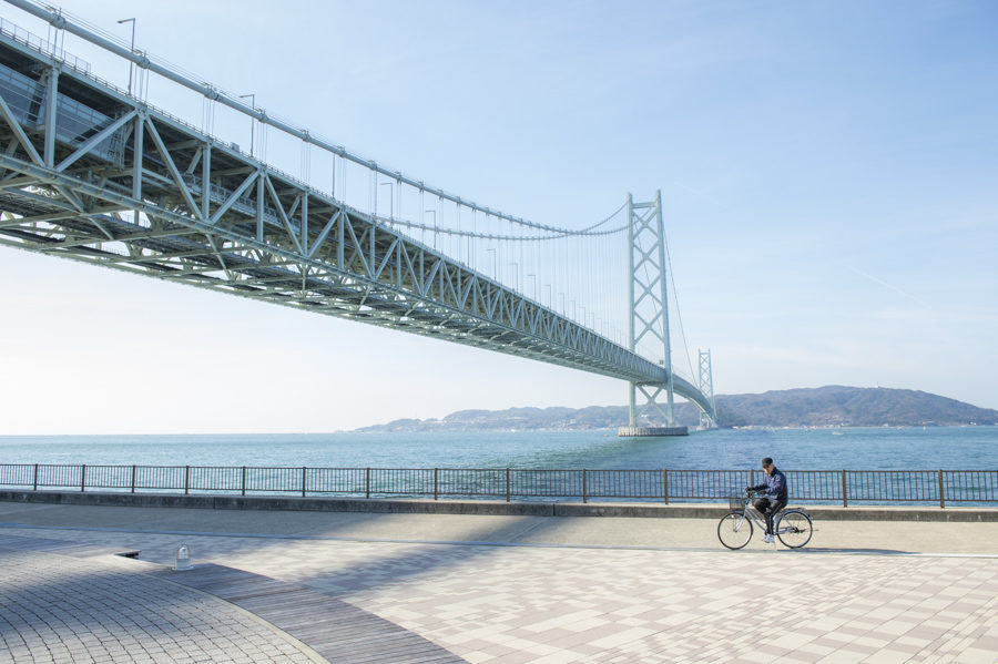 The enormous bridge links Kobe and Akashi to Awaji Island and Shikoku.