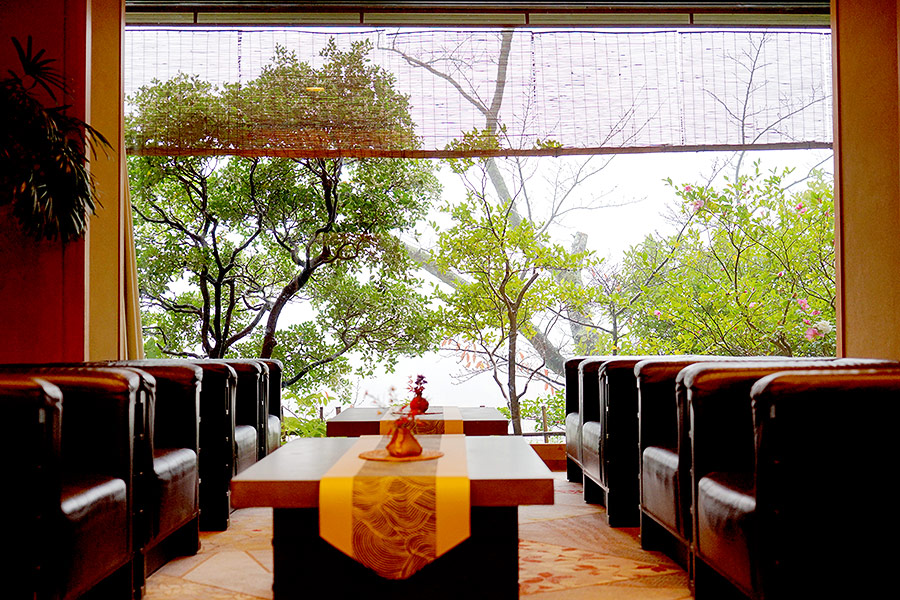 The tastefully decorated onsen has a touch of retro-chic about it.