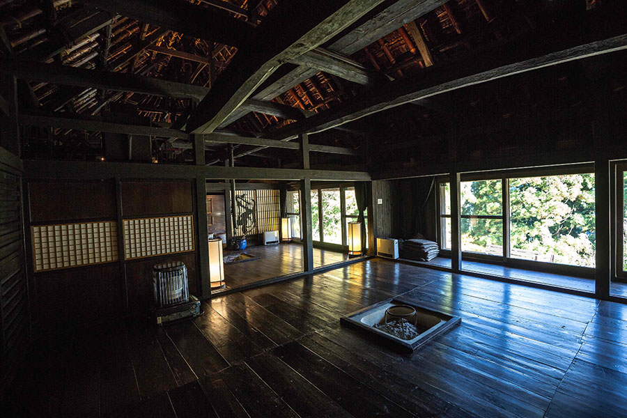 "The main room of Alex Kerr's restored kominka, the Chiiori house, which means ""house of the flute."""