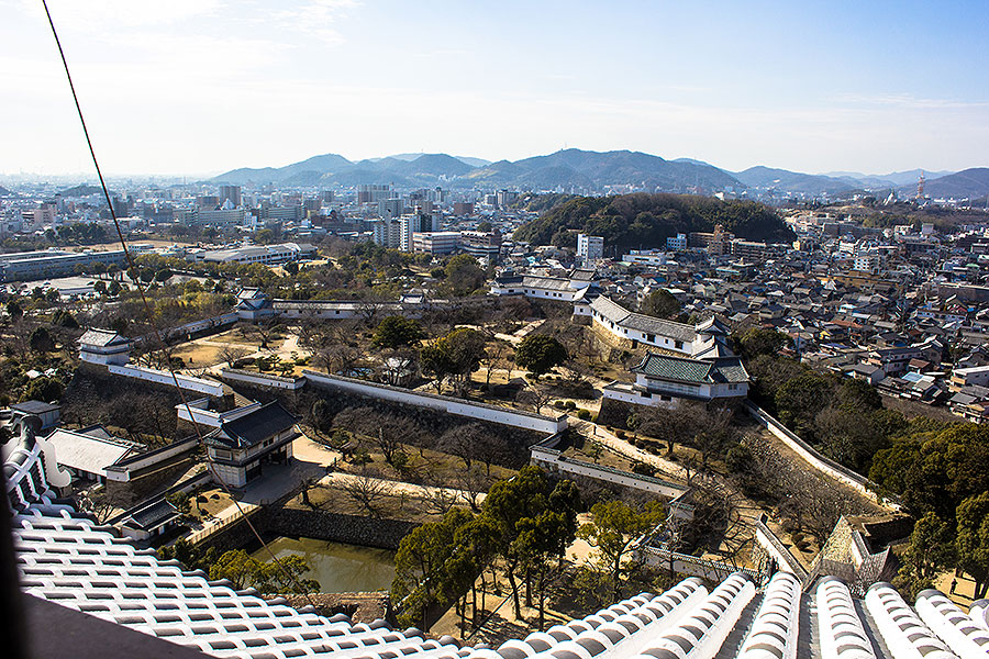 The sweeping view of the castle grounds and Himeji City from the top of the main keep.
