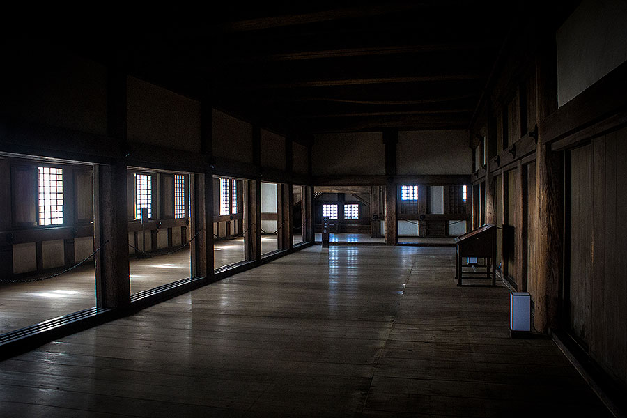 The wooden interior of Himeji Castle's main keep.