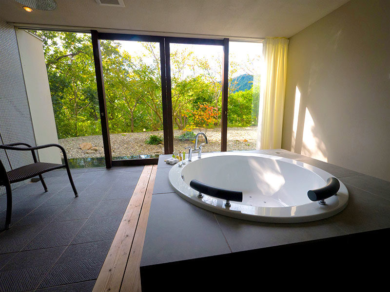 Rooms come with personal jacuzzi baths, to relax and enjoy the view of the garden from.