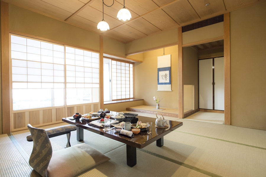 The Japanese ryokan-style rooms all adhere to a traditional Japanese aesthetic.