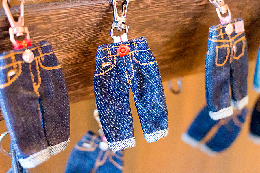 Decorative miniature jeans made from real Japanese denim at Japan Blue.