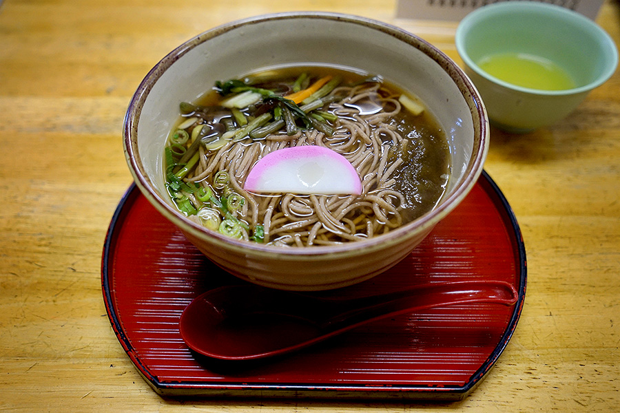 A hearty serving of soba noodles.