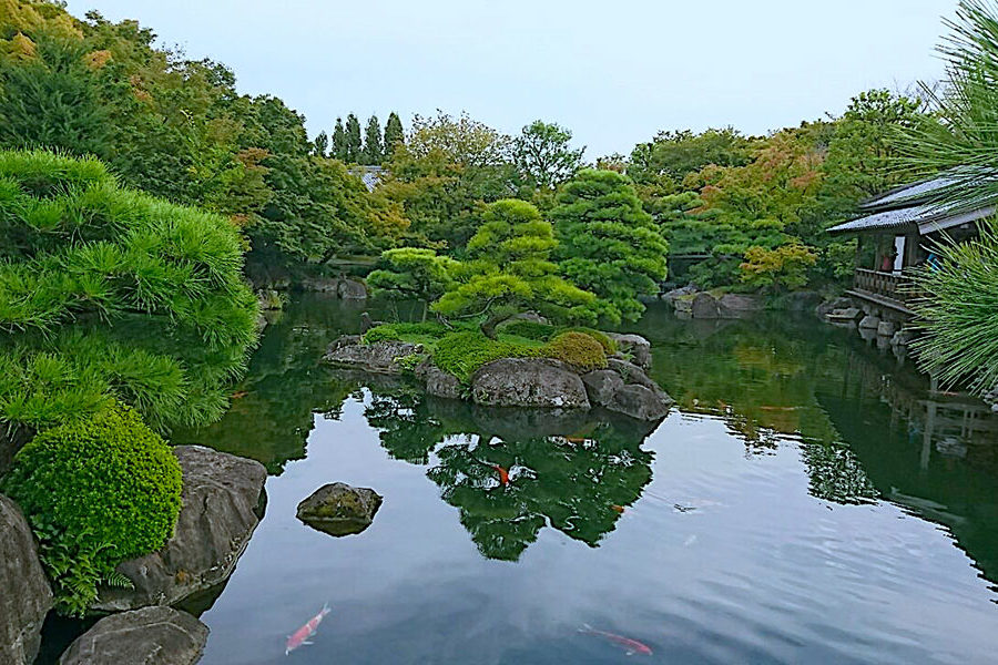 The garden of the lord's residence features a pond that is home to hundreds of colorful carp.