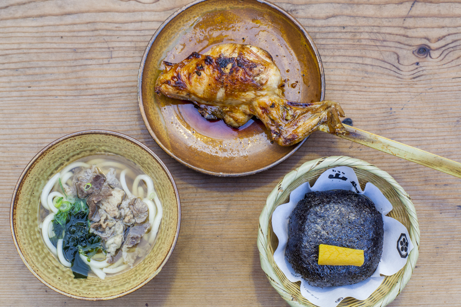 The popular grilled chicken, udon noodles and rice ball dishes.