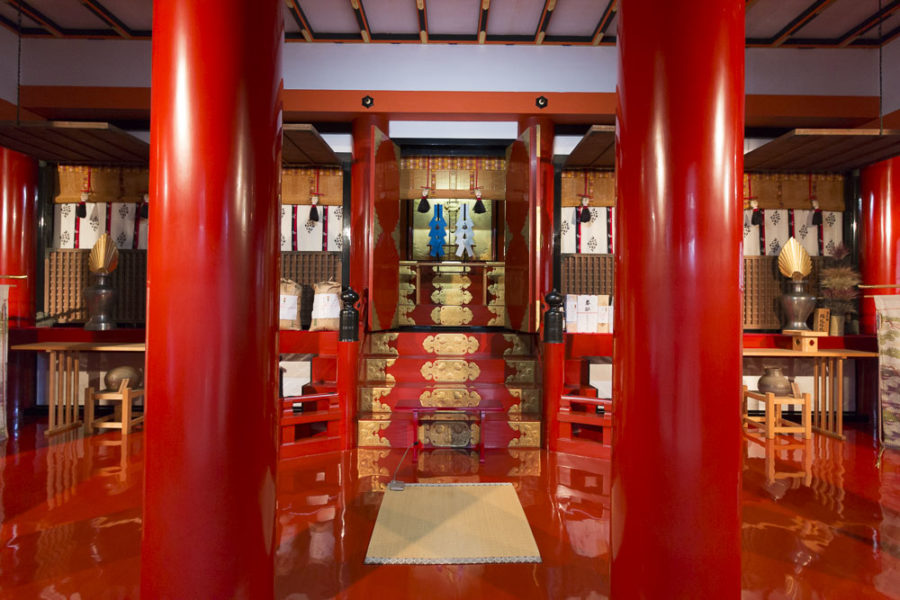 The beautiful red interior of the ancient treasure hall, though generally off limits to the public, houses many breathtaking artifacts.