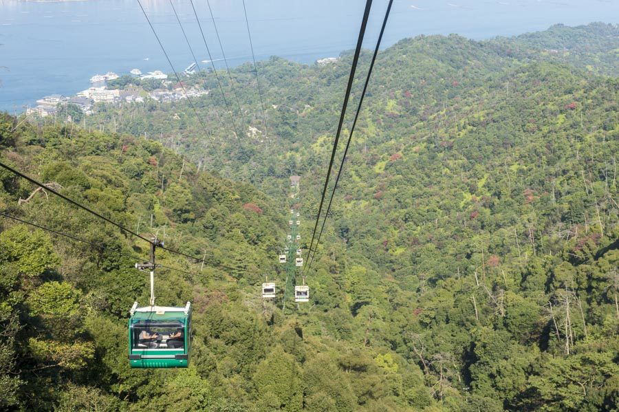 The ropeway going up Mount Misen.