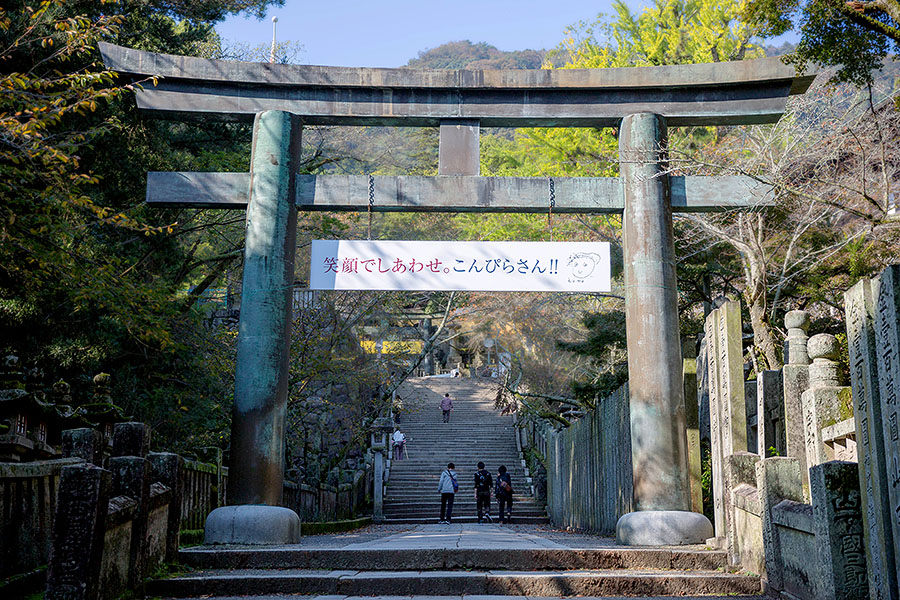 Visitors pass through gigantic torii gates as they make their way up the 785 steps to the main shrine complex.
