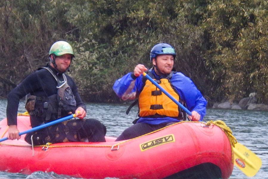 My first time in a raft and approaching our first rapid of the day.