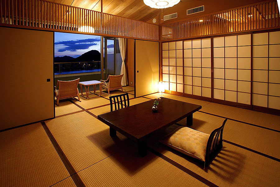 The elegant simplicity of a Japanese room before the staff set out the futon for your night's rest.