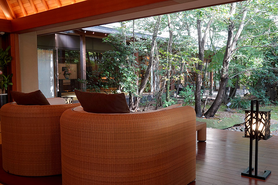 The wood interior found throughout the ryokan perfectly complements the abundant vegetation so close at hand.
