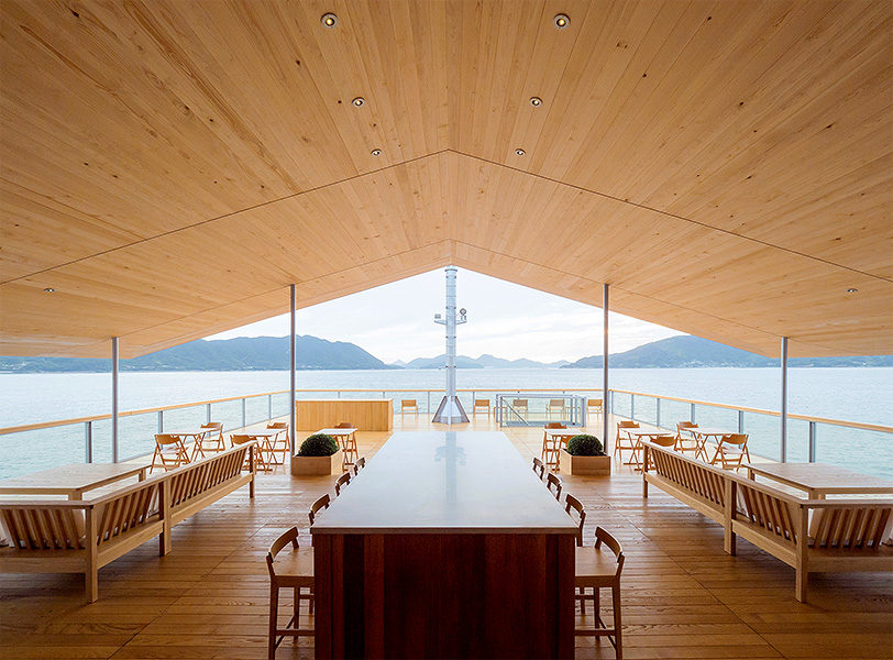The peaked roof gives a distinct perspective on the stunning seascape.