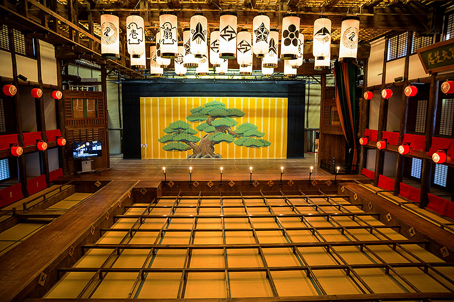 The interior of the Kanamaruza Theater, still occasionally stages kabuki performances.