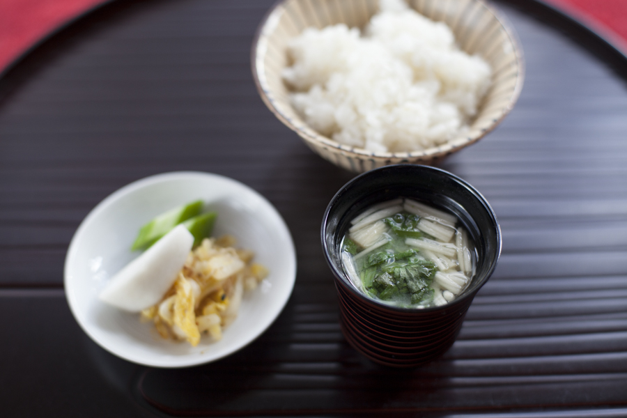 Rice, miso soup and pickles.