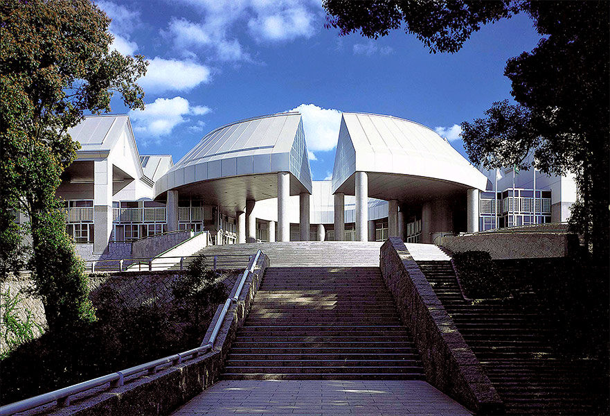 The dramatic entrance to Hiroshima MOCA faces directly toward ground zero of the atomic blast which leveled the city.