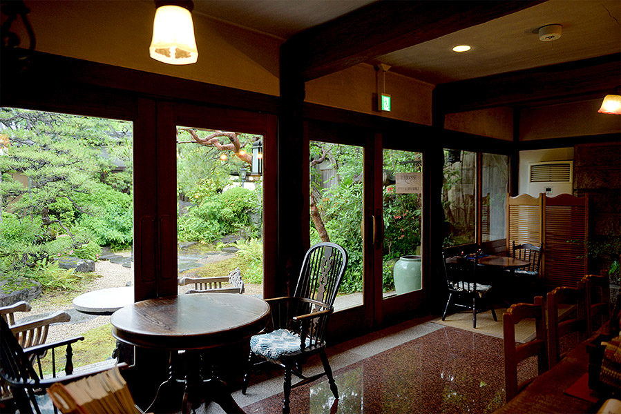 Ryokan Kurashiki's lounge offers gorgeous views of their garden.
