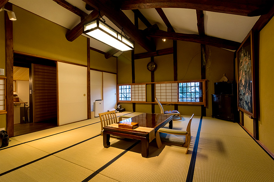 One of Ryokan Kurashiki's newly renovated rooms, situated on the second floor of a former sugar warehouse.