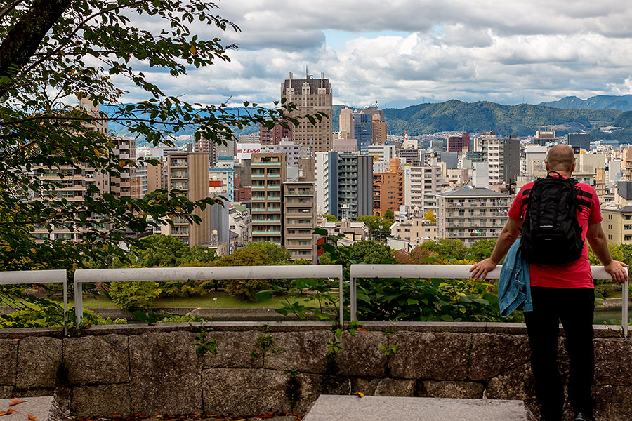 A viewpoint in front of the museum invites visitors to contemplate the reconstruction of Hiroshima City.