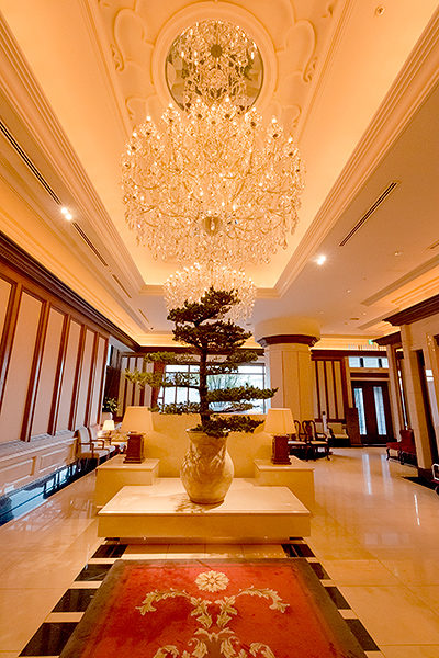 This enormous chandelier, positioned so as to greet the eyes of arriving guests, sets the tone immediately.