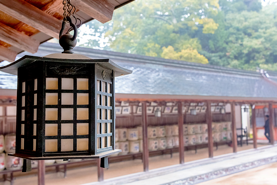 Beautiful decorations adorn the shrine grounds, such as these lanterns which line the inner courtyard.